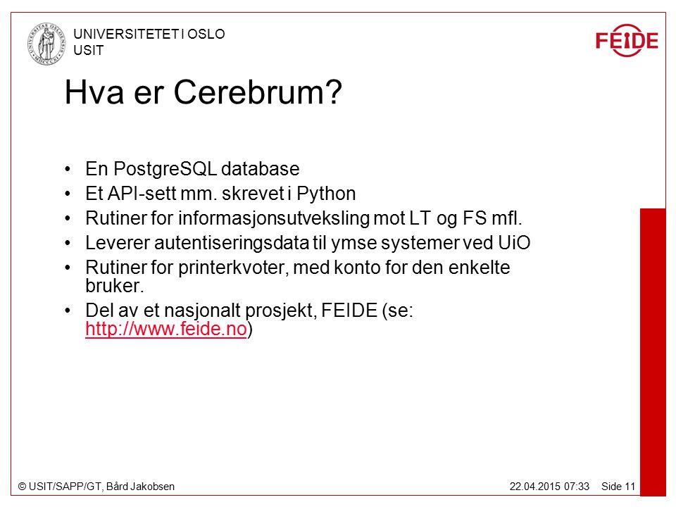 © USIT/SAPP/GT, Bård Jakobsen UNIVERSITETET I OSLO USIT 22.04.2015 07:34 Side 11 Hva er Cerebrum.