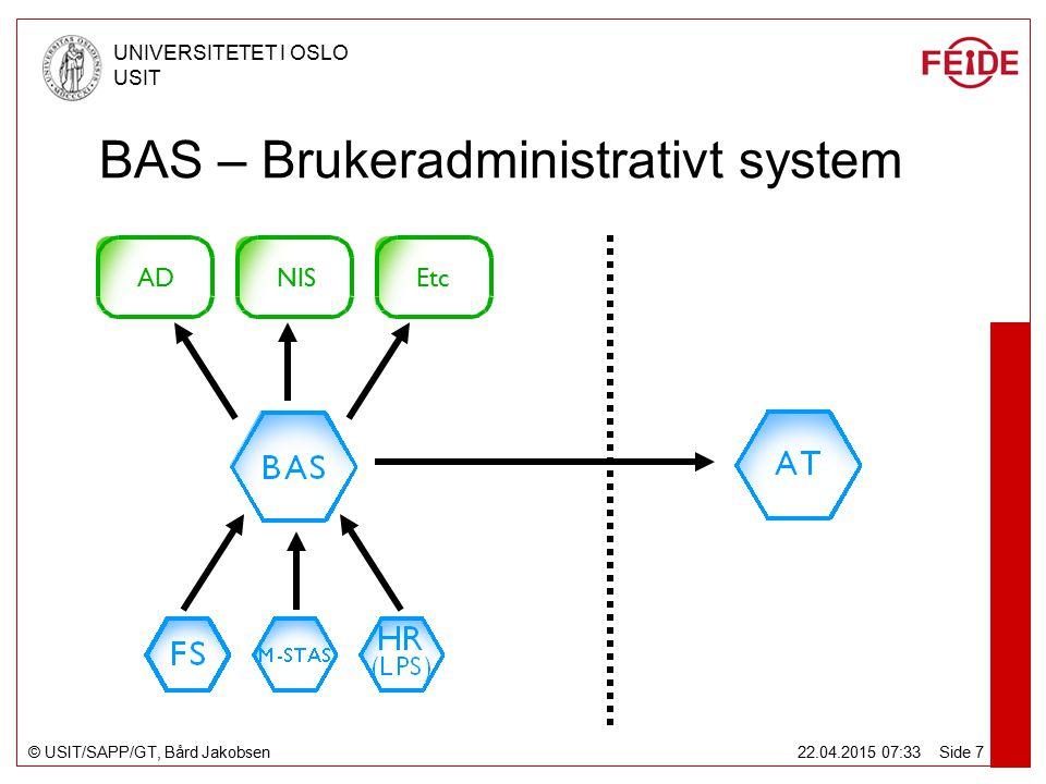 © USIT/SAPP/GT, Bård Jakobsen UNIVERSITETET I OSLO USIT 22.04.2015 07:34 Side 7 BAS – Brukeradministrativt system ADEtcNIS