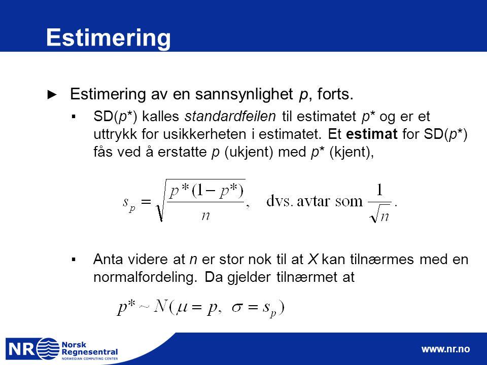www.nr.no Estimering ► Estimering av en sannsynlighet p, forts.