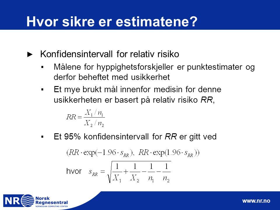 www.nr.no Hvor sikre er estimatene? ► Konfidensintervall for relativ risiko ▪Målene for hyppighetsforskjeller er punktestimater og derfor beheftet med