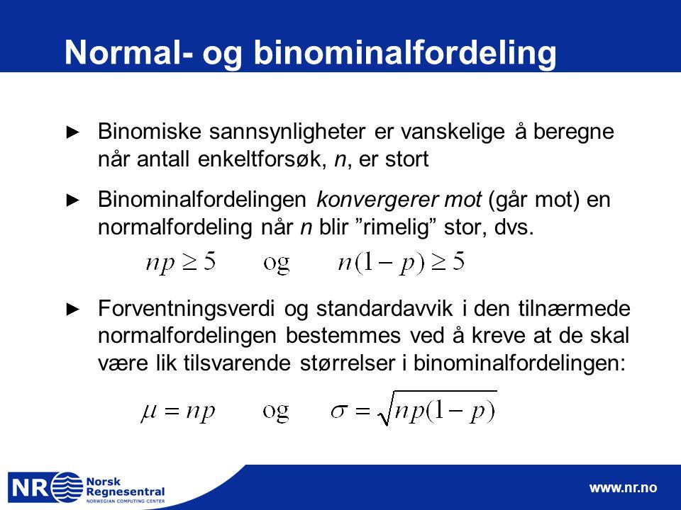 www.nr.no Normal- og binominalfordeling ► Binomiske sannsynligheter er vanskelige å beregne når antall enkeltforsøk, n, er stort ► Binominalfordelingen konvergerer mot (går mot) en normalfordeling når n blir rimelig stor, dvs.