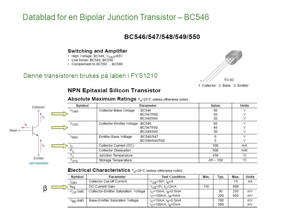 Datablad for en Bipolar Junction Transistor – BC546 β Denne transistoren brukes på laben i FYS1210