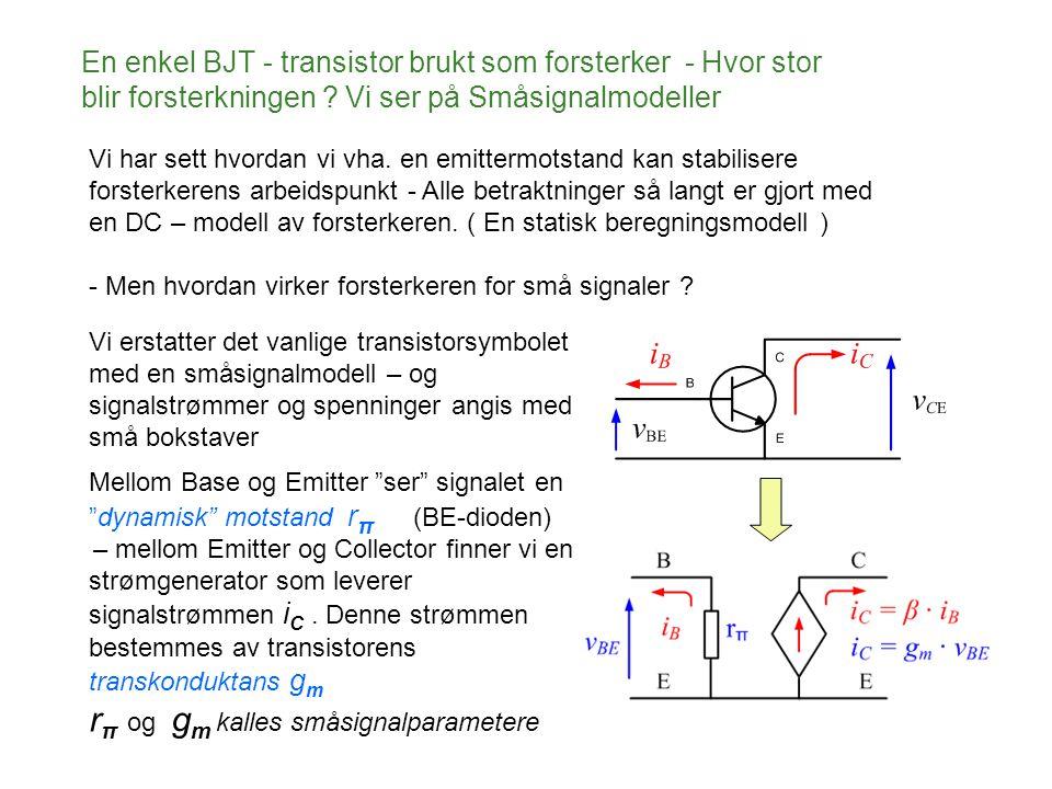 En enkel BJT - transistor brukt som forsterker - Hvor stor blir forsterkningen ? Vi ser på Småsignalmodeller Vi har sett hvordan vi vha. en emittermot