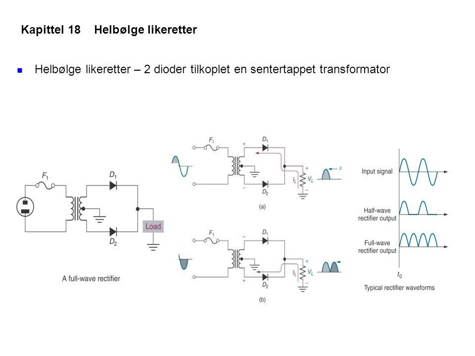 Helbølge likeretter – 2 dioder tilkoplet en sentertappet transformator Kapittel 18 Helbølge likeretter