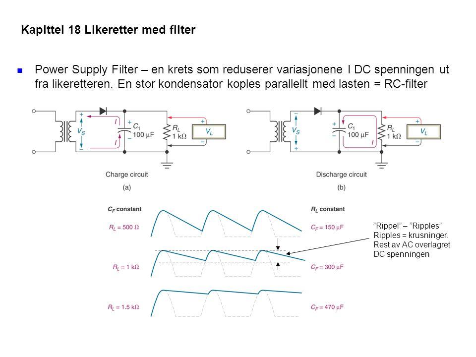 Power Supply Filter – en krets som reduserer variasjonene I DC spenningen ut fra likeretteren. En stor kondensator koples parallellt med lasten = RC-f