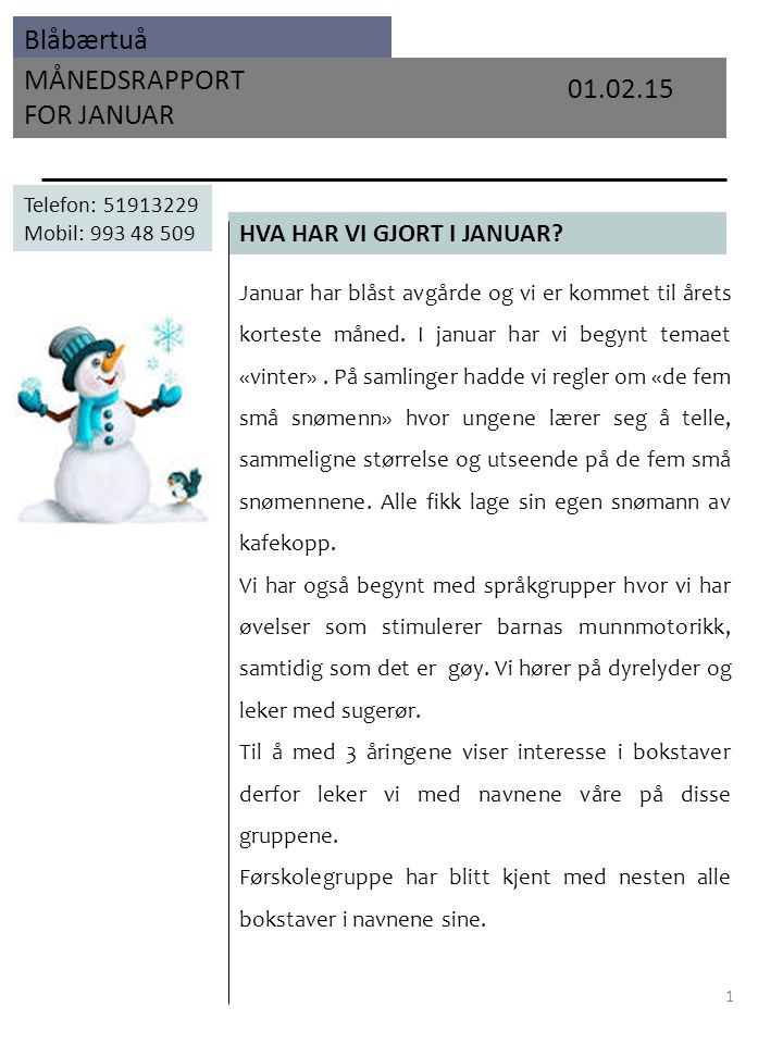 Blåbærtuå MÅNEDSRAPPORT FOR JANUAR HVA HAR VI GJORT I JANUAR.