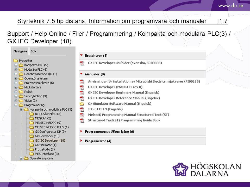 Styrteknik 7.5 hp distans: Information om programvara och manualerI1:8 Support / Help Online / Filer / Kompakta PLC(5) / MELSEC FX-serien (20) / MELSEC FX (19) OB länken går till den kompletta manualen, 384 sidor