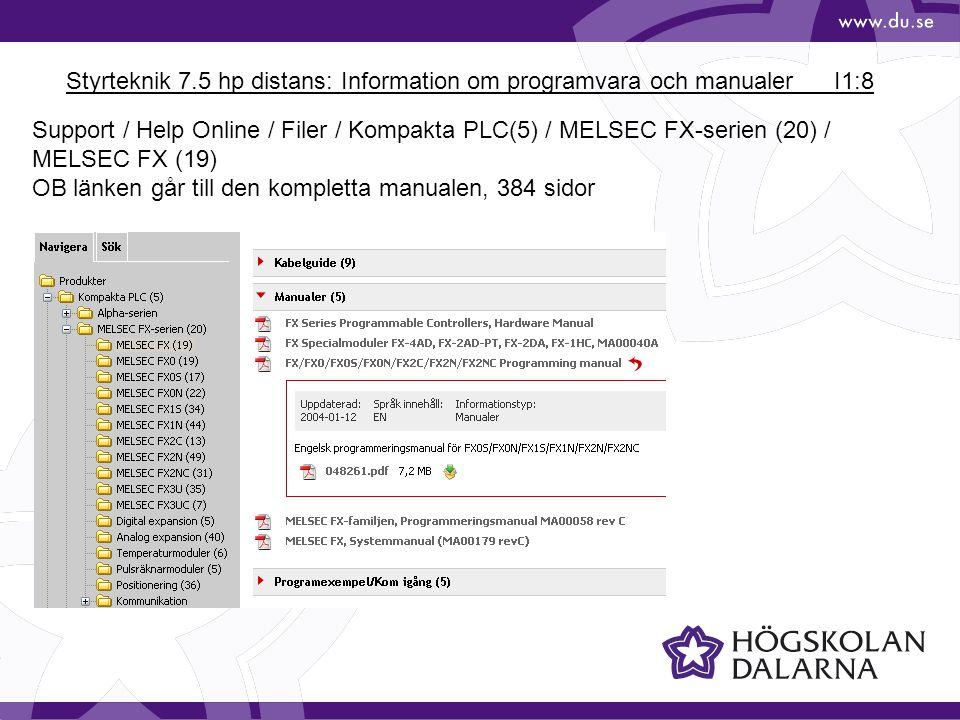 Styrteknik 7.5 hp distans: Information om programvara och manualerI1:9 http://mitsubishi-automation-resource-mirror.de /resources/manuals/166388.pdf Manualen finns på Mitsubishi Beskriver hårdvara och programmering av FX-serien.