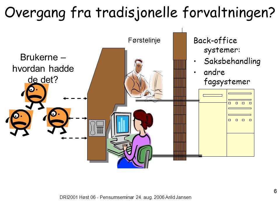 DRI2001 Høst 06 - Pensumseminar 24.aug. 2006 Arild Jansen 17 Hvordan utvikler vi et et nettsted.