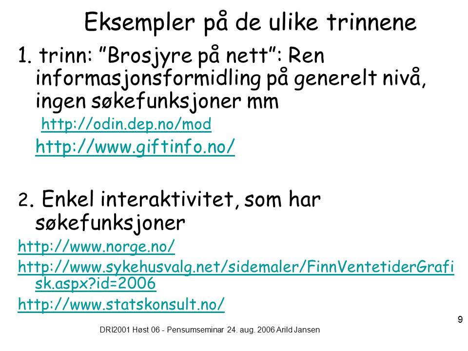 DRI2001 Høst 06 - Pensumseminar 24. aug. 2006 Arild Jansen 9 Eksempler på de ulike trinnene 1.