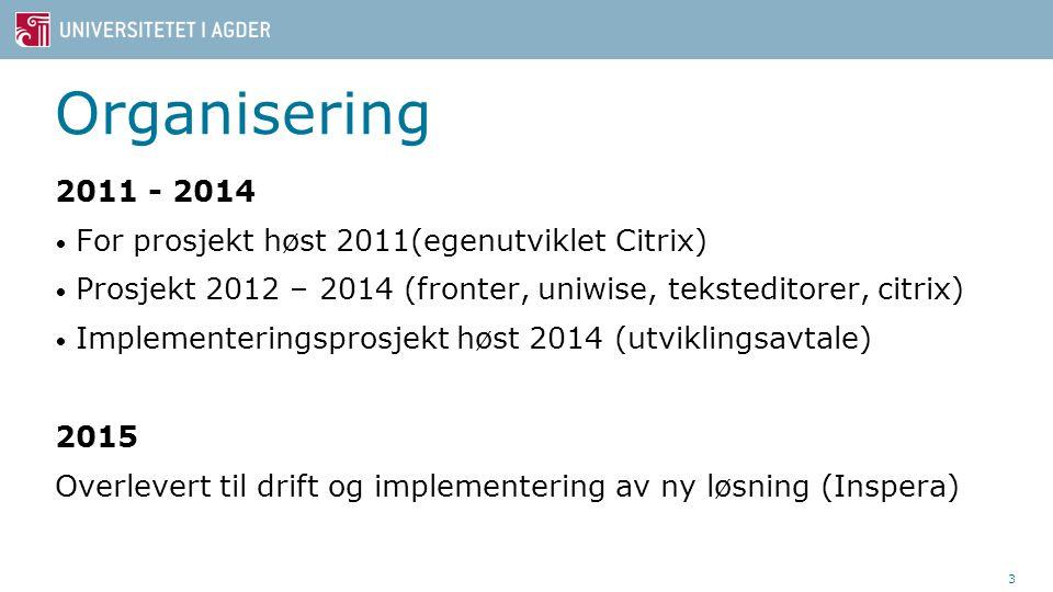 Organisering 2011 - 2014 For prosjekt høst 2011(egenutviklet Citrix) Prosjekt 2012 – 2014 (fronter, uniwise, teksteditorer, citrix) Implementeringsprosjekt høst 2014 (utviklingsavtale) 2015 Overlevert til drift og implementering av ny løsning (Inspera) 3