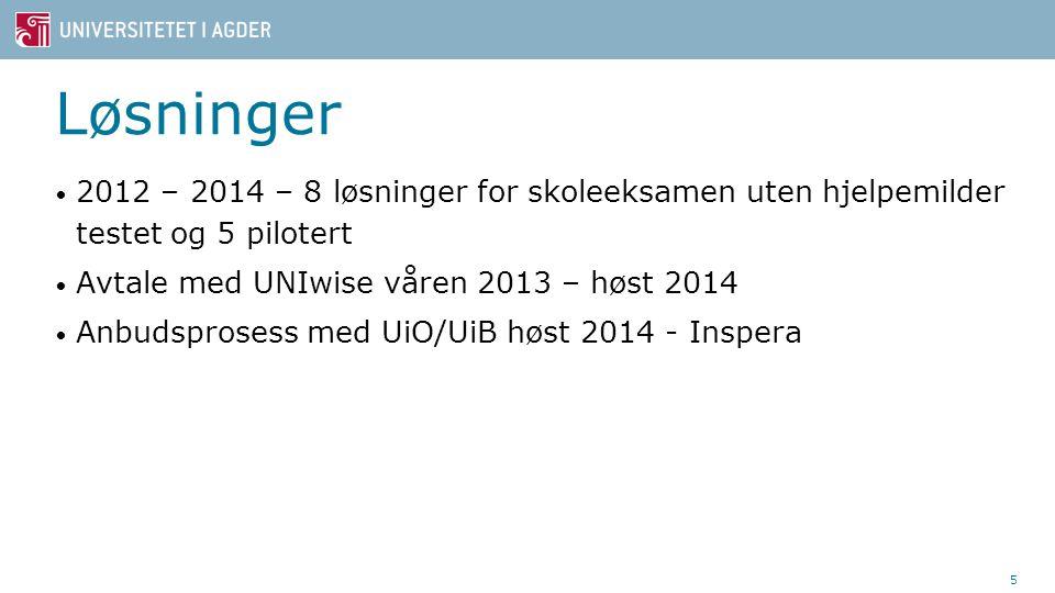 Løsninger 2012 – 2014 – 8 løsninger for skoleeksamen uten hjelpemilder testet og 5 pilotert Avtale med UNIwise våren 2013 – høst 2014 Anbudsprosess med UiO/UiB høst 2014 - Inspera 5