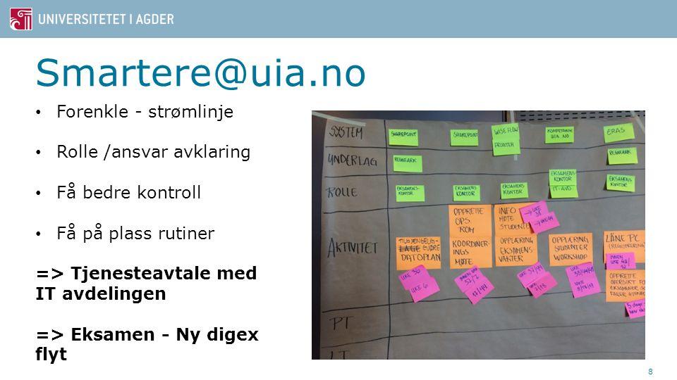 Smartere@uia.no 8 Forenkle - strømlinje Rolle /ansvar avklaring Få bedre kontroll Få på plass rutiner => Tjenesteavtale med IT avdelingen => Eksamen -