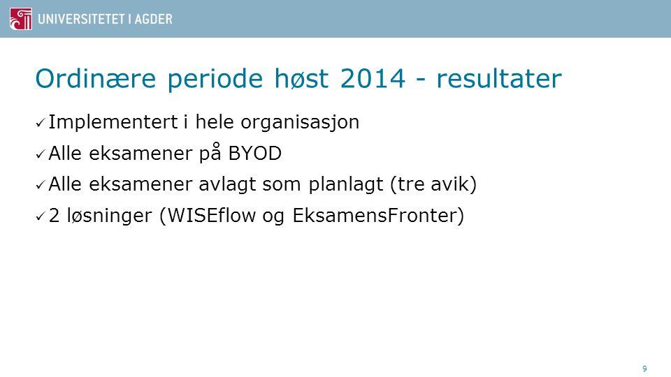 Ordinære periode høst 2014 - resultater Implementert i hele organisasjon Alle eksamener på BYOD Alle eksamener avlagt som planlagt (tre avik) 2 løsninger (WISEflow og EksamensFronter) 9