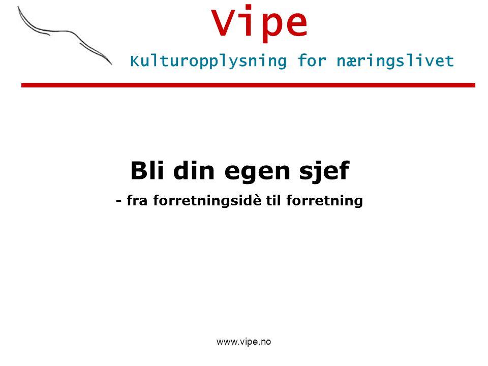 www.vipe.no Vipe Bli din egen sjef - fra forretningsidè til forretning Kulturopplysning for næringslivet
