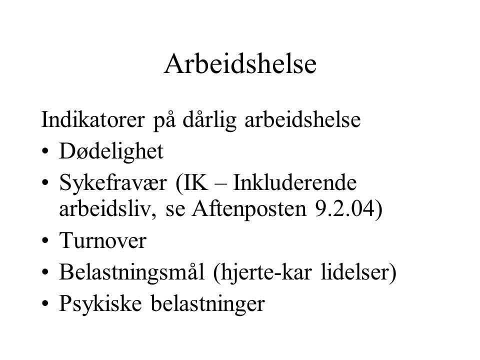 Arbeidshelse Indikatorer på dårlig arbeidshelse Dødelighet Sykefravær (IK – Inkluderende arbeidsliv, se Aftenposten 9.2.04) Turnover Belastningsmål (h
