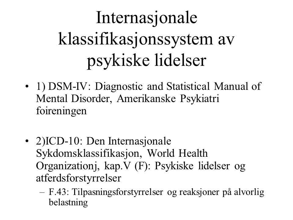 Internasjonale klassifikasjonssystem av psykiske lidelser 1) DSM-IV: Diagnostic and Statistical Manual of Mental Disorder, Amerikanske Psykiatri foire