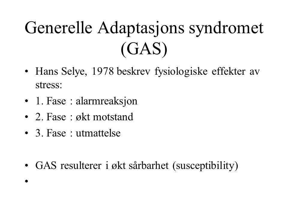 Generelle Adaptasjons syndromet (GAS) Hans Selye, 1978 beskrev fysiologiske effekter av stress: 1. Fase : alarmreaksjon 2. Fase : økt motstand 3. Fase