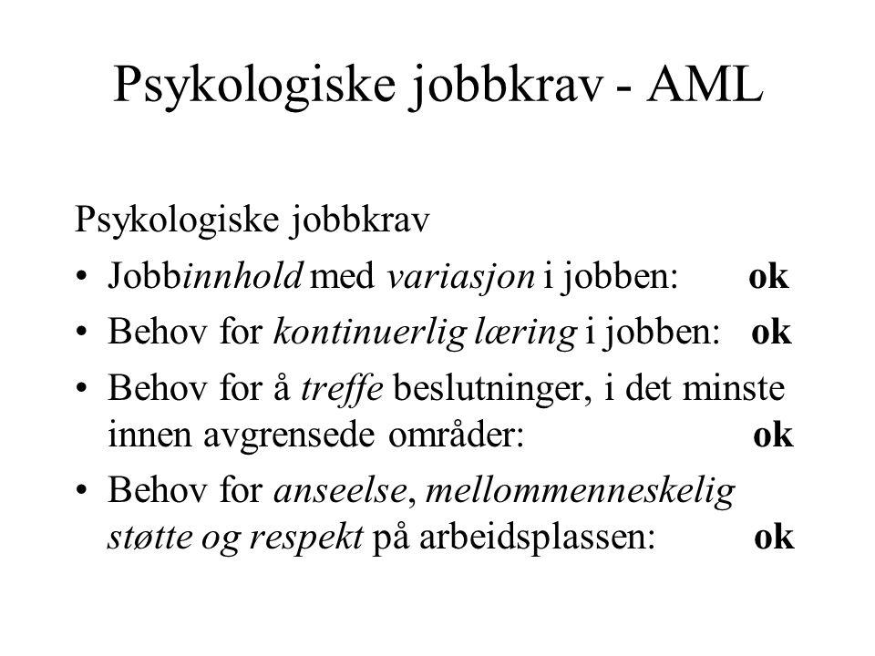 Psykologiske jobbkrav - AML Psykologiske jobbkrav Jobbinnhold med variasjon i jobben: ok Behov for kontinuerlig læring i jobben: ok Behov for å treffe
