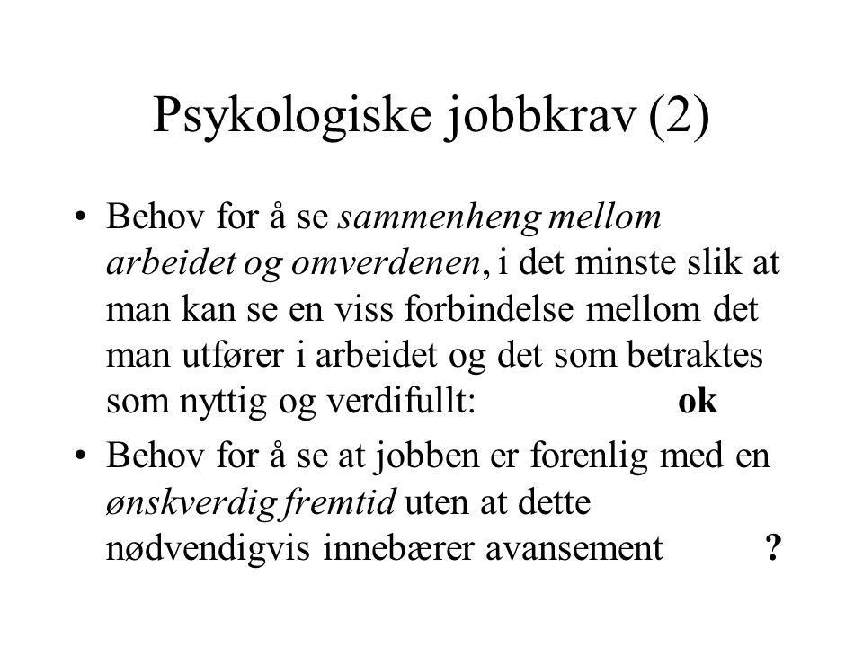 Psykologiske jobbkrav (2) Behov for å se sammenheng mellom arbeidet og omverdenen, i det minste slik at man kan se en viss forbindelse mellom det man