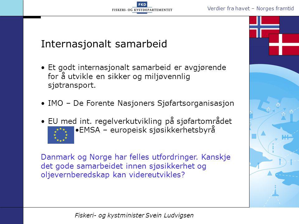 Verdier fra havet – Norges framtid Fiskeri- og kystminister Svein Ludvigsen Et godt internasjonalt samarbeid er avgjørende for å utvikle en sikker og miljøvennlig sjøtransport.