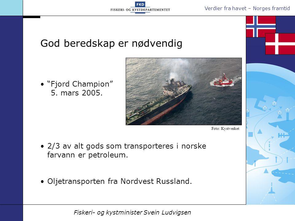 Verdier fra havet – Norges framtid Fiskeri- og kystminister Svein Ludvigsen Fjord Champion 5.