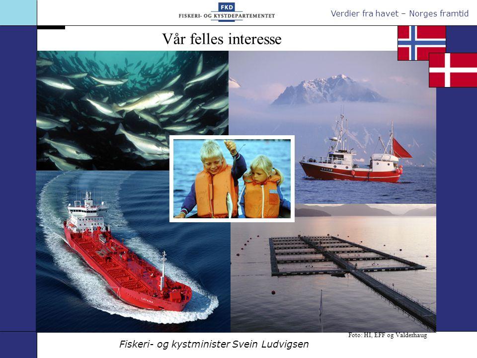 Verdier fra havet – Norges framtid Fiskeri- og kystminister Svein Ludvigsen Foto: HI, EFF og Valderhaug Vår felles interesse