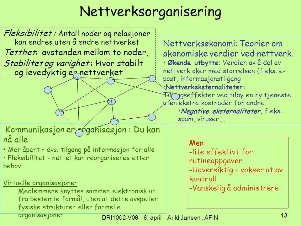 DRI1002-V06 6. april Arild Jansen, AFIN 12 Hva innebærer dette i praksis.