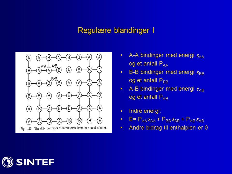 Regulære blandinger I A-A bindinger med energi  AA og et antall P AA B-B bindinger med energi  BB og et antall P BB A-B bindinger med energi  AB og et antall P AB Indre energi: E= P AA  AA + P BB  BB + P AB  AB Andre bidrag til enthalpien er 0