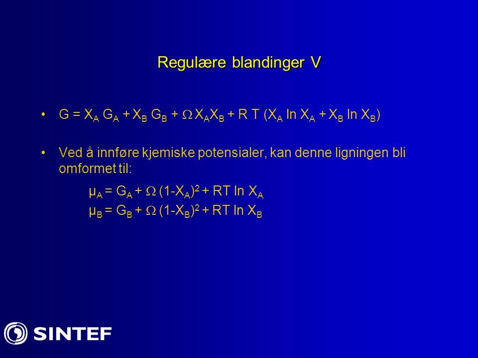 Regulære blandinger V G = X A G A + X B G B +  X A X B + R T (X A ln X A + X B ln X B ) Ved å innføre kjemiske potensialer, kan denne ligningen bli omformet til: µ A = G A +  (1-X A ) 2 + RT ln X A µ B = G B +  (1-X B ) 2 + RT ln X B