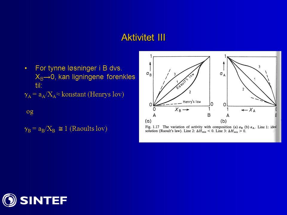 Aktivitet III For tynne løsninger i B dvs. X B →0, kan ligningene forenkles til:  A = a A /X A ≈ konstant (Henrys lov) og  B = a B /X B  1 (Raoults
