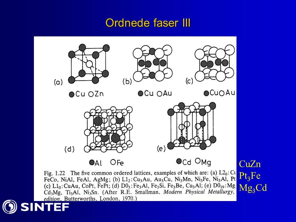 Ordnede faser III CuZn Pt 3 Fe Mg 3 Cd