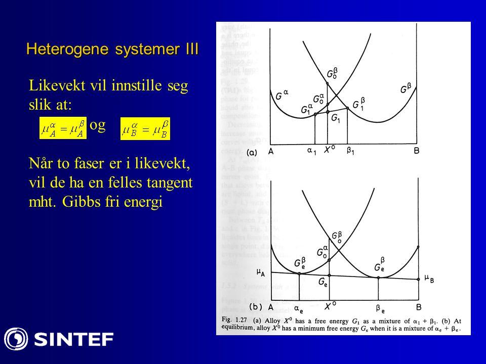 Heterogene systemer III Likevekt vil innstille seg slik at: og Når to faser er i likevekt, vil de ha en felles tangent mht. Gibbs fri energi