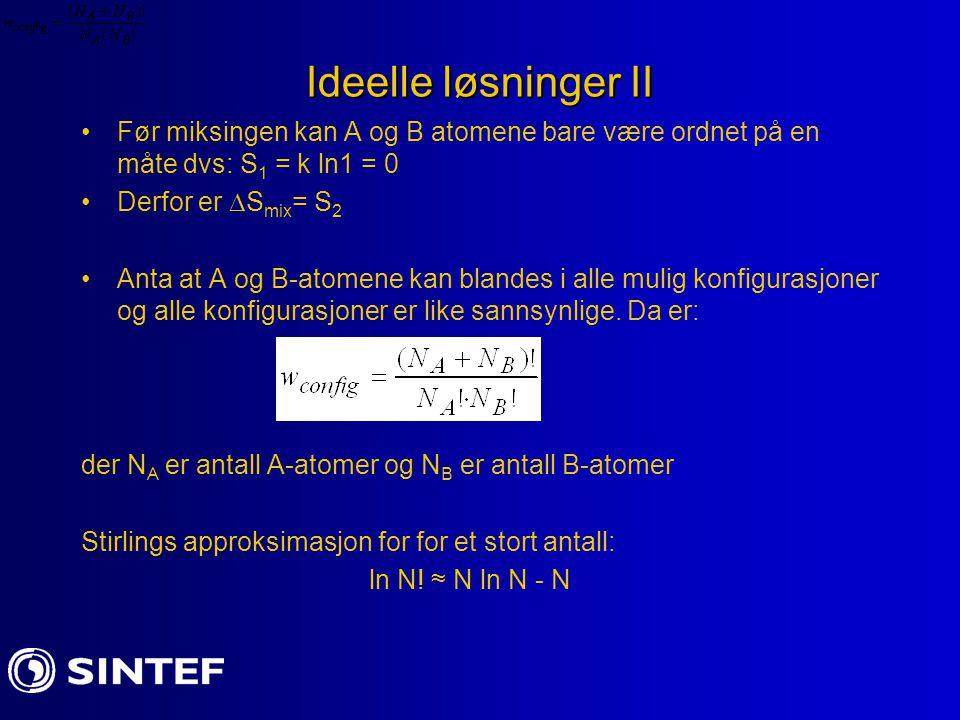 Ideelle løsninger II Før miksingen kan A og B atomene bare være ordnet på en måte dvs: S 1 = k ln1 = 0 Derfor er  S mix = S 2 Anta at A og B-atomene