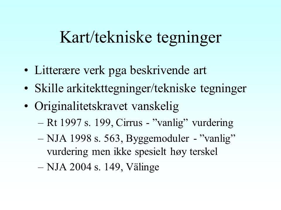 Arkitektur Både todimensjonalt (tegninger) og tredimensjonalt (bygningen), jf § 1 nr 9 Originalitetskravet –Noe sprikende uttalelser i praksis –Rt 1940 s.