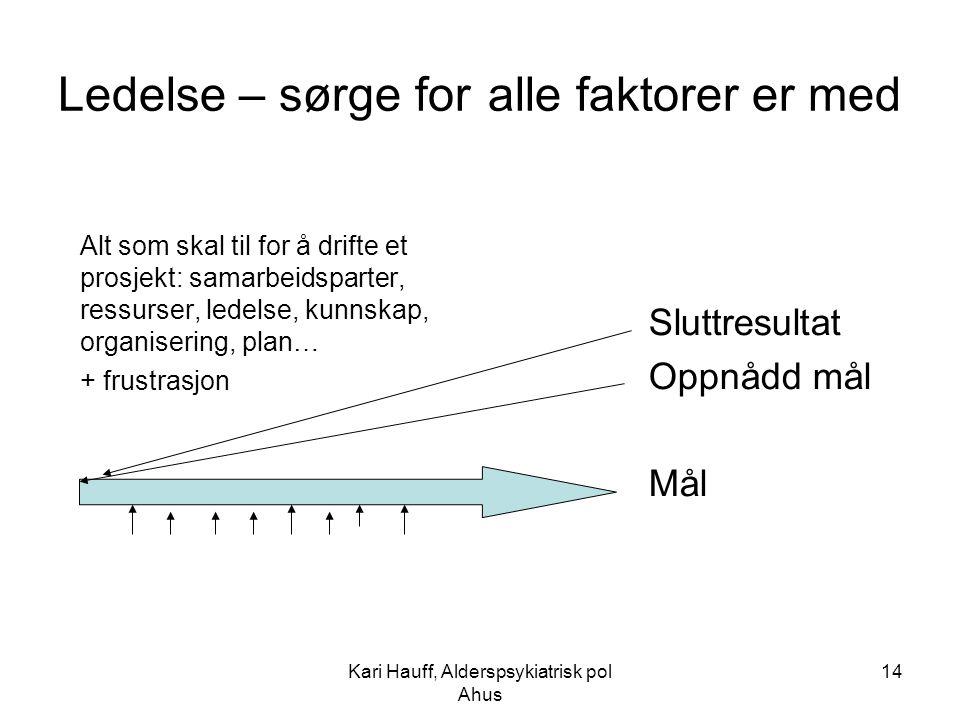 Kari Hauff, Alderspsykiatrisk pol Ahus 14 Ledelse – sørge for alle faktorer er med Alt som skal til for å drifte et prosjekt: samarbeidsparter, ressur