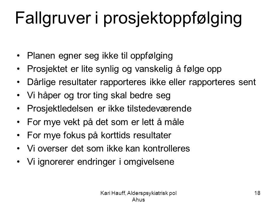 Kari Hauff, Alderspsykiatrisk pol Ahus 18 Fallgruver i prosjektoppfølging Planen egner seg ikke til oppfølging Prosjektet er lite synlig og vanskelig