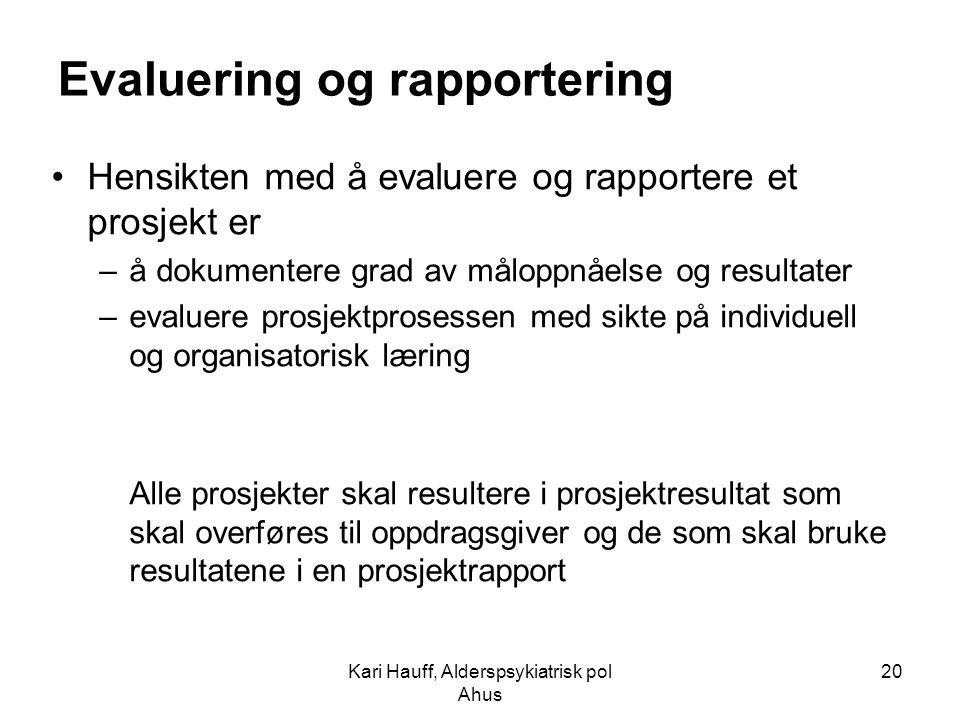 Kari Hauff, Alderspsykiatrisk pol Ahus 20 Evaluering og rapportering Hensikten med å evaluere og rapportere et prosjekt er –å dokumentere grad av målo