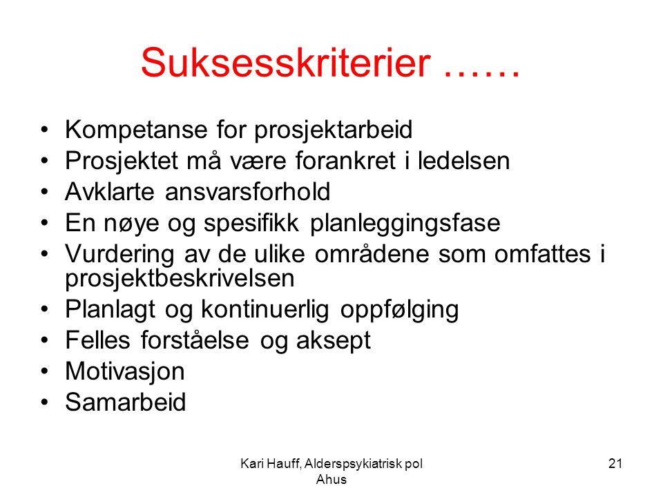 Kari Hauff, Alderspsykiatrisk pol Ahus 21 Suksesskriterier …… Kompetanse for prosjektarbeid Prosjektet må være forankret i ledelsen Avklarte ansvarsfo