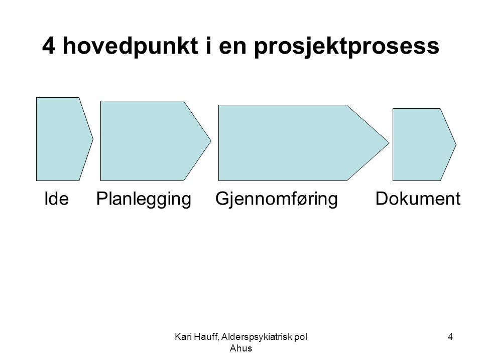 Kari Hauff, Alderspsykiatrisk pol Ahus 4 4 hovedpunkt i en prosjektprosess Ide Planlegging Gjennomføring Dokument