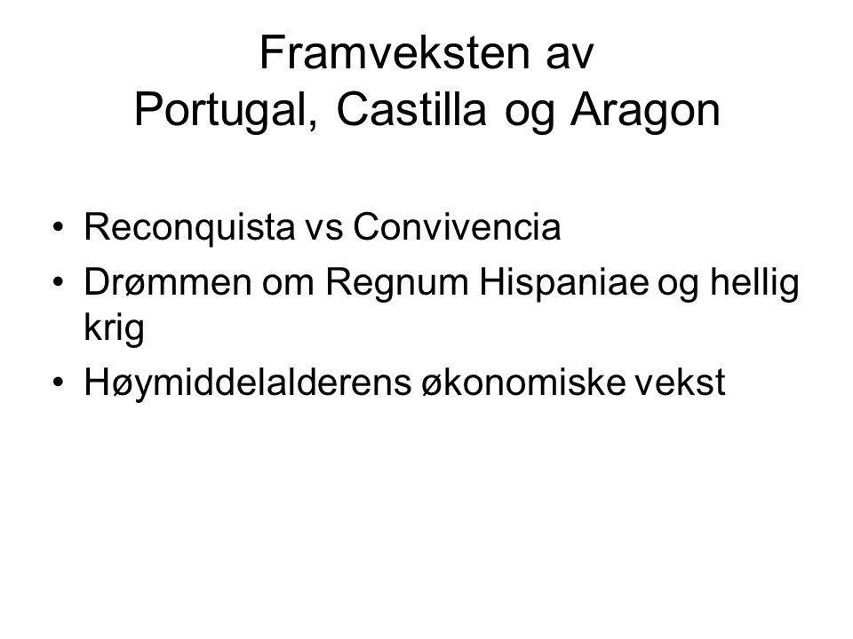 Framveksten av Portugal, Castilla og Aragon Reconquista vs Convivencia Drømmen om Regnum Hispaniae og hellig krig Høymiddelalderens økonomiske vekst
