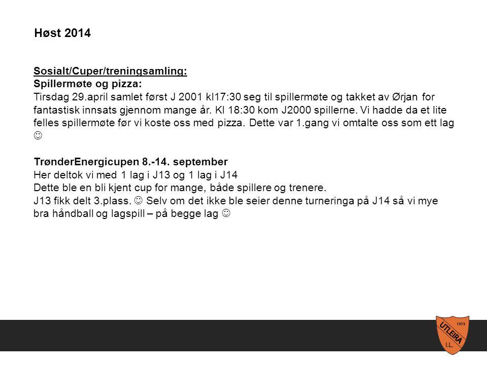 Sosialt/Cuper/treningsamling: Spillermøte og pizza: Tirsdag 29.april samlet først J 2001 kl17:30 seg til spillermøte og takket av Ørjan for fantastisk innsats gjennom mange år.