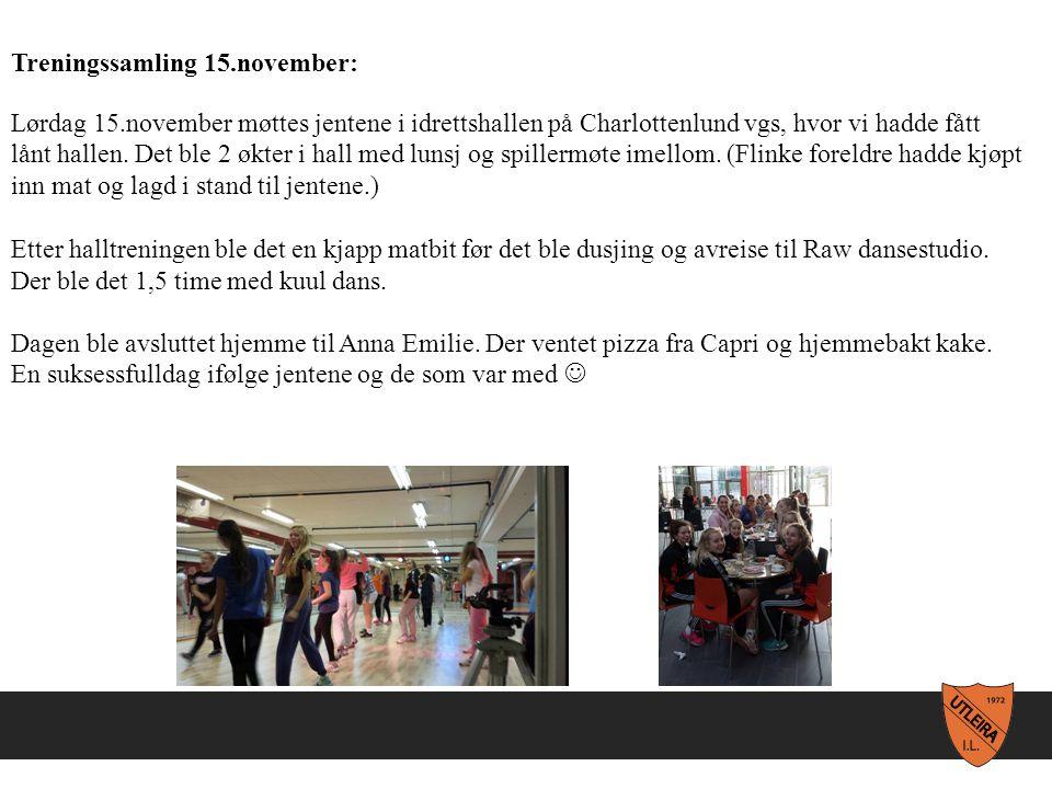 Treningssamling 15.november: Lørdag 15.november møttes jentene i idrettshallen på Charlottenlund vgs, hvor vi hadde fått lånt hallen.