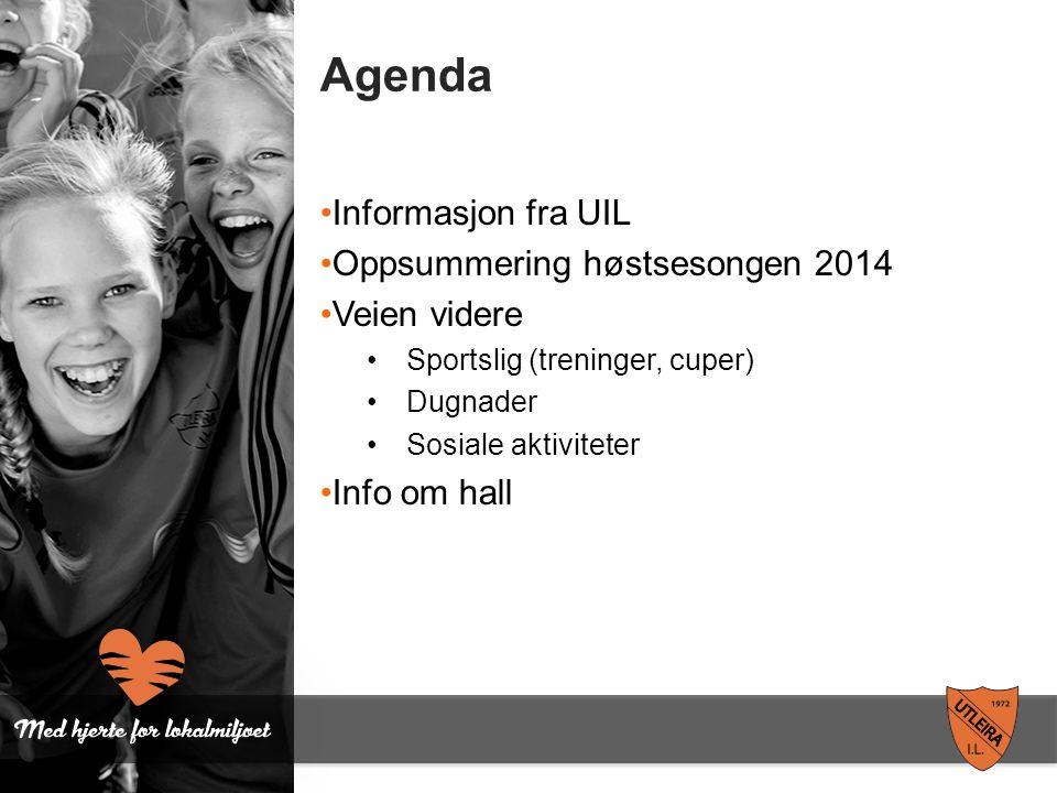 Agenda Informasjon fra UIL Oppsummering høstsesongen 2014 Veien videre Sportslig (treninger, cuper) Dugnader Sosiale aktiviteter Info om hall