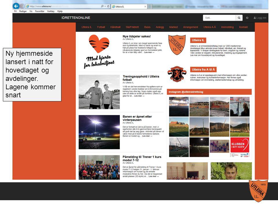 Ny hjemmeside lansert i natt for hovedlaget og avdelinger. Lagene kommer snart