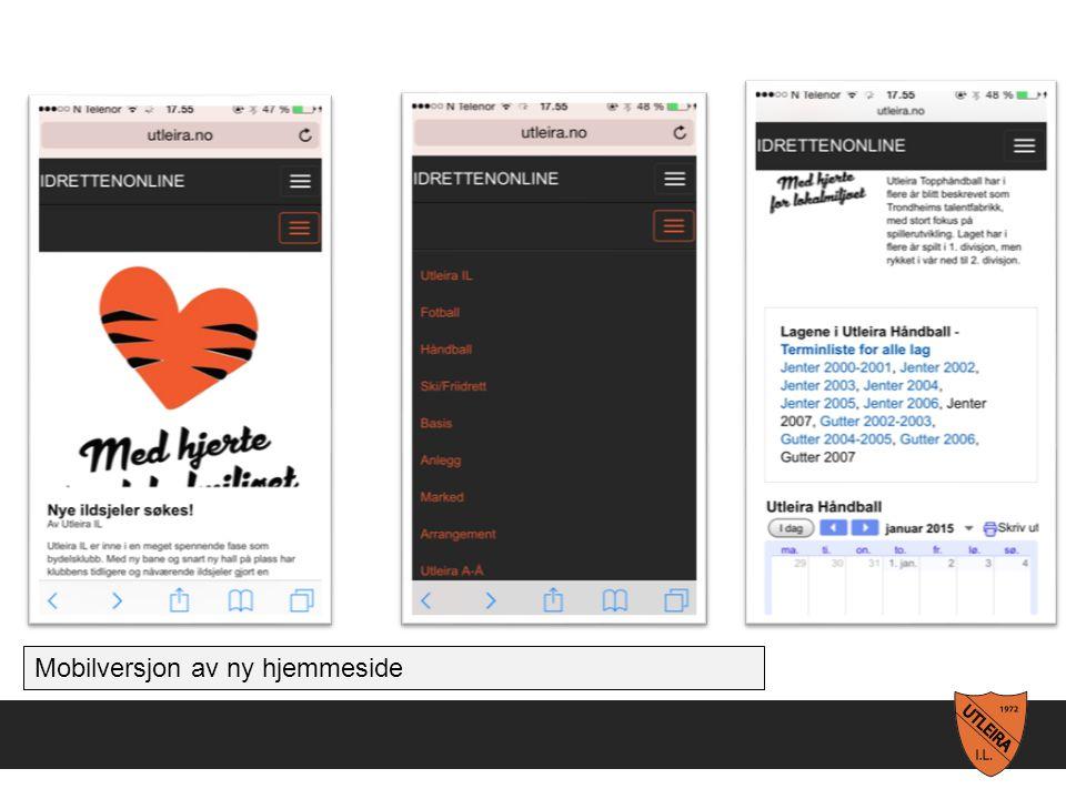 Mobilversjon av ny hjemmeside