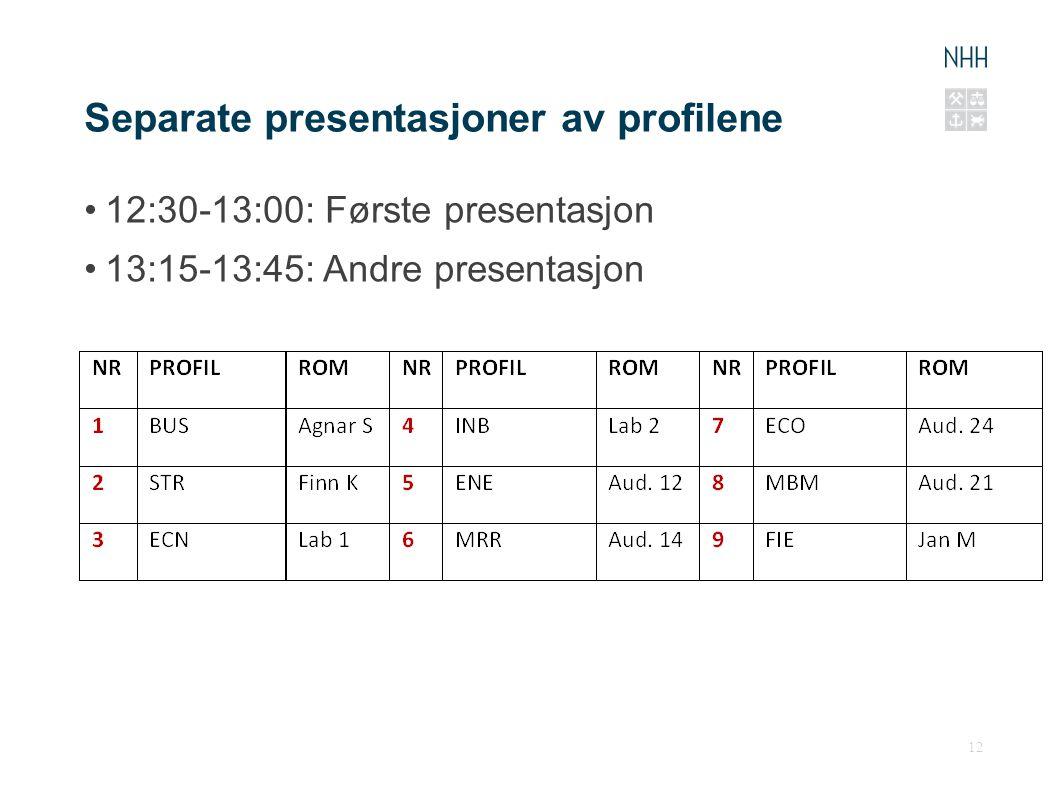 Separate presentasjoner av profilene 12:30-13:00: Første presentasjon 13:15-13:45: Andre presentasjon 12