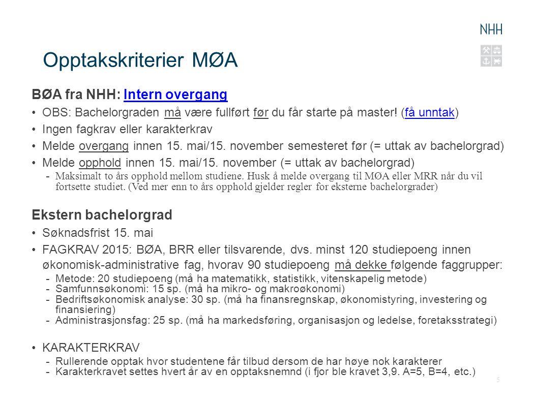 Opptakskriterier MØA BØA fra NHH: Intern overgangIntern overgang OBS: Bachelorgraden må være fullført før du får starte på master! (få unntak)få unnta