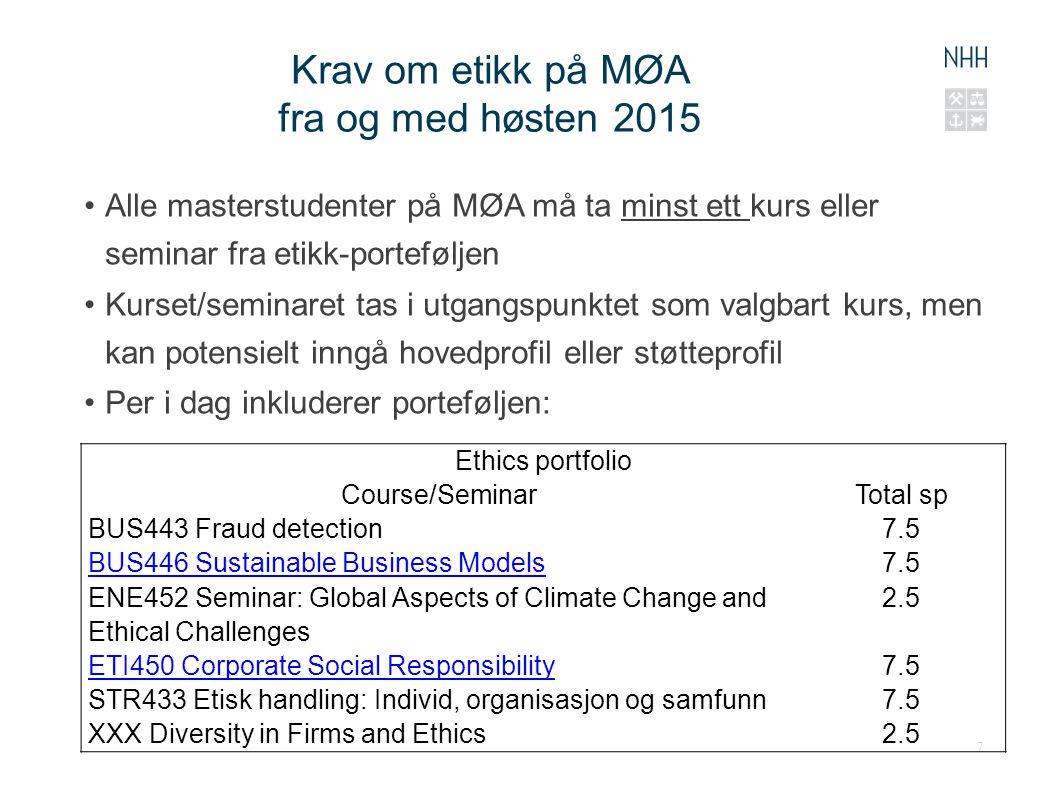 Krav om etikk på MØA fra og med høsten 2015 Alle masterstudenter på MØA må ta minst ett kurs eller seminar fra etikk-porteføljen Kurset/seminaret tas