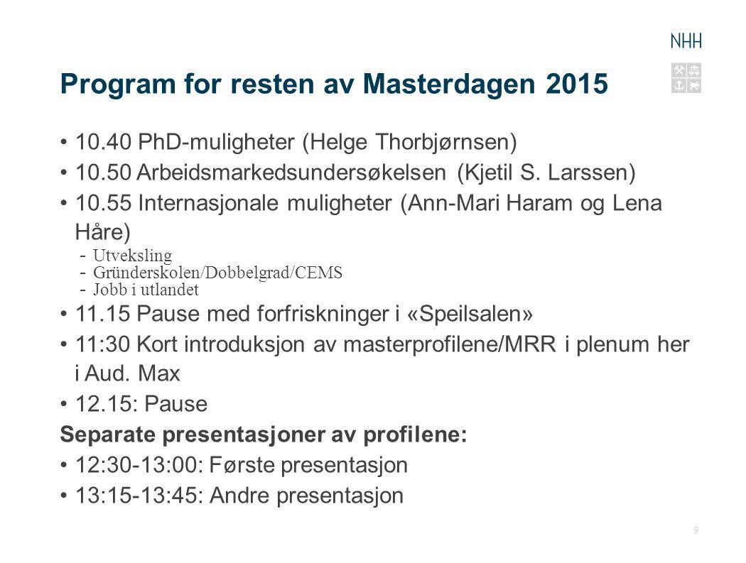 Program for resten av Masterdagen 2015 10.40 PhD-muligheter (Helge Thorbjørnsen) 10.50 Arbeidsmarkedsundersøkelsen (Kjetil S. Larssen) 10.55 Internasj